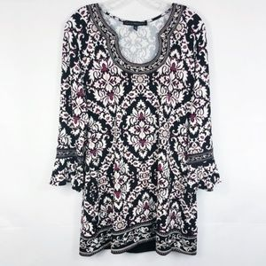 WHBM | Embroidered Damask Print Tunic Black & Wine